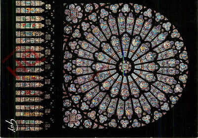 Rosette Window Interior Paris France 91O Notre Dame Cathedral Postcard
