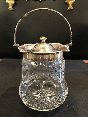 Antique Etched & Cut Glass Biscuit or Cookie Jar with Silverplate Handle