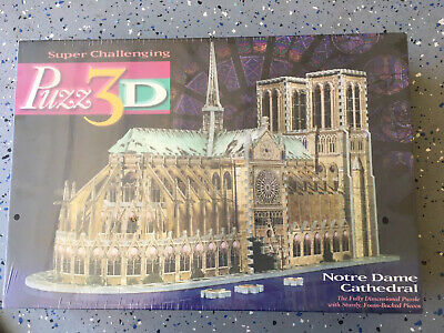 Puzz3D Notre Dame Cathedral Puzzle 3D 952 Pieces Milton Bradley Sealed Bag
