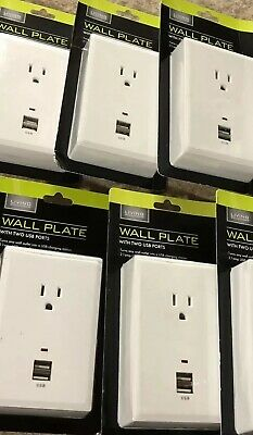 Living Solutions Wall Plate with 2 USB Ports NEW LOT of 5