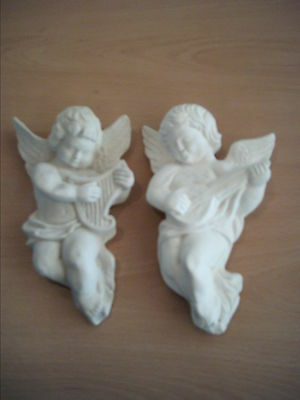 2 x Musical Architectural Ornate Plaster Cherub Angel Wall Hanging Decor Plaques
