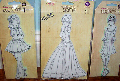 Julie Nutting Doll Stamps Mixed Media by Prima Marketing Lot of 3 New    Steffi