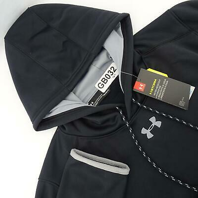 NWT Men Under Armour Hoodie Size Large Black Storm Coldgear Pullover Sweat Shirt