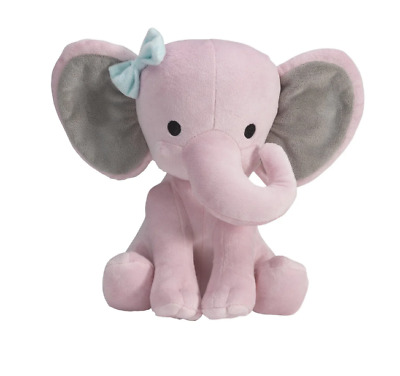 "Bedtime Originals Twinkle Toes Pink/Gray Plush Elephant Stuffed Animal - 10"" Haz"