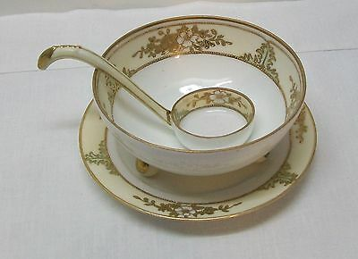 Soup Rice Footed Bowl Matching Plate and Spoon Nippon Cream Gold Trim Vintage
