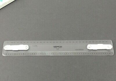 "12"" VEMCO P-62 Vintage Drafting Machine Scale Clear Plastic Ruler w/ Box Q4"