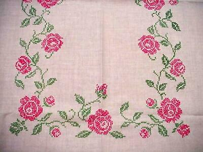 Vintage Hand Embroidered RED ROSES Garden FLORAL Tablecloth Midcentury Classic