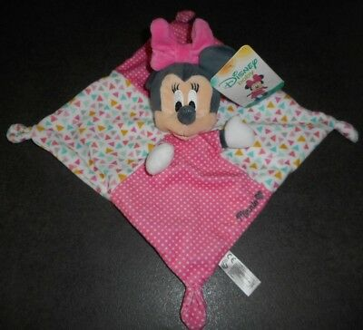 Doudou Plat Carré Souris Minnie Rose Pois Blanc Triangles Disney Nicotoy Neuf