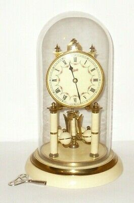 Old Mechanical Treasure Year Clock Watch Table Glass Dome Fireplace Pendule??