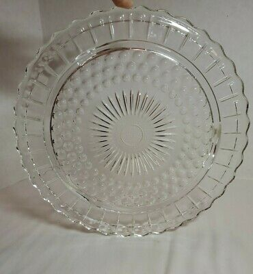 Cake Plate Federal Depression Clear Glass Footed Sunflower Bubble Scalloped Edge