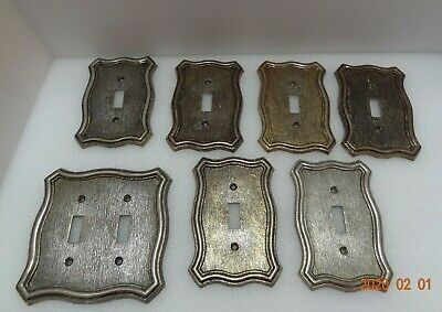 Vintage Brass Light Switch Plate Lot of 7 American Tack & HDWE. Co.1968