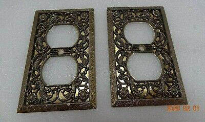 Lot of 2 Vintage Ornate Floral Brass Wall Plug Plate Cover