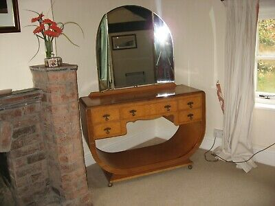 Art Deco Satinwood Dressing Table & Wardrobe