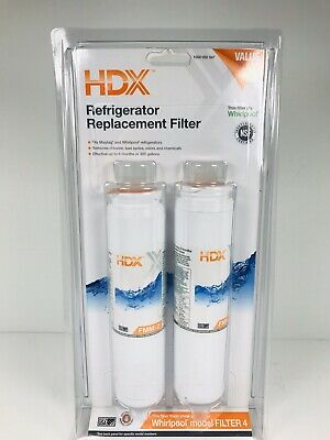 New HDX FMM-2 Refrigerator Replacement Filter Fits Whirlpool Filter 4 Value Pack
