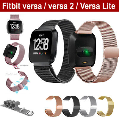 For Fitbit Versa 2 Lite Band Stainless Steel Metal Milanese Loop Wristband strap