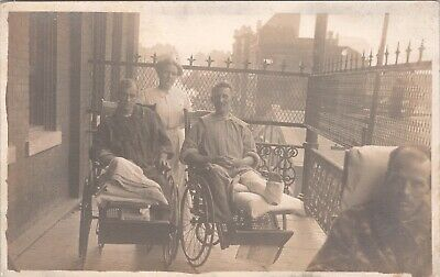RPPC WWI Injured Soldiers Nurse Casts Possibly Americans on Balcony in France F3