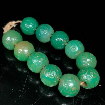 20mm Ancient Chinese Natural handcarved old green Agate Ruyi Beads Bracelet