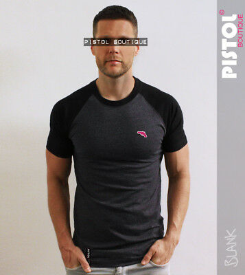 "chest logo t-shirt Pistol Boutique Mens Charcoal /""Blank/"" Long Line crew neck"