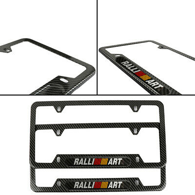 x2 Ralliart Black License Plate Frame Stainless Steel Metal New