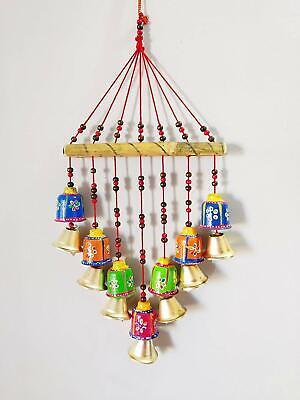 Handmade Door Wall hanging Decoration Hand painted 7 bell Wind chimes 45 cm