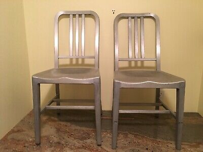 Nice Pair of Vintage MidCentury Brushed Aluminum Industrial Goodform Navy Chairs