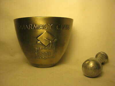 *no base vintage Rx Pharmacy Class mortar pestle pharmaceutical secundum display