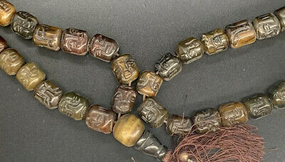 Heavy Vintage/Antique Chinese Carved Immortals Prayer Bead Jade Stone Necklace