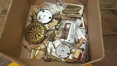 Interesting Job lot of Vintage Clock Makers Parts Spares Faces Hands Springs etc