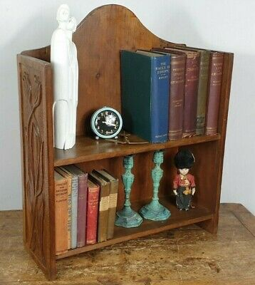 BOOKCASE ART NOUVEAU SHELVES VICTORIAN 1890s WOOD TULIP HAND CARVED IN SCOTLAND