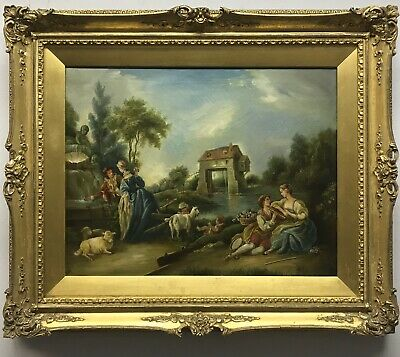 Late19th/early 20th Century antique oil painting canvas Continental landscape