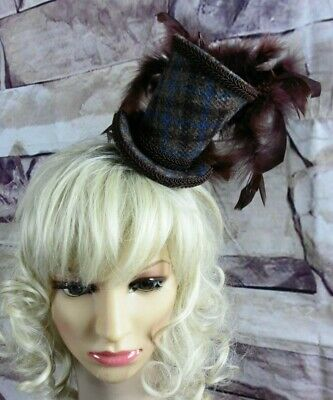 Stunning Genuine HARRIS TWEED Mini Top Hat Fascinator Brown Blue Check (HT4)a