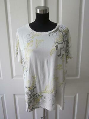 ZENERGY BY CHICO'S Ivory w/ Brown & Yellow Print Short Sleeve Shirt Top  Sz 3