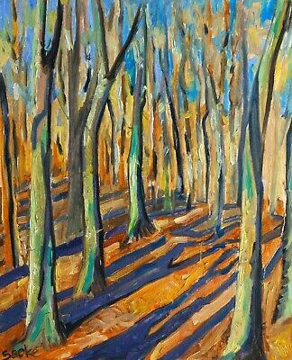 Forest Trees - Original Handmade Landscape Impressionism Oil on Canvas Painting