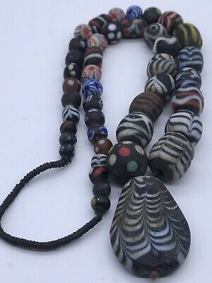 Unique Old Mosaic Glass Wonderful Beads Strand Necklace