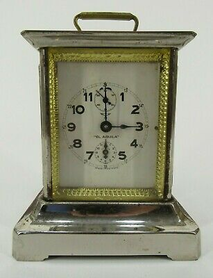 Antique MAUTHE ALARM CLOCK metal case GERMANY rare carriage glass SIDE WINDOWS