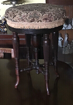 Victorian Rise & Fall Piano Stool. With Later Tapestry To The Top. Mahogany.