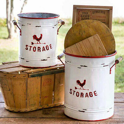 Vintagemetal Farmhouse White And Red Rooster Bins Buckets Set Of 2 Ctw 530151