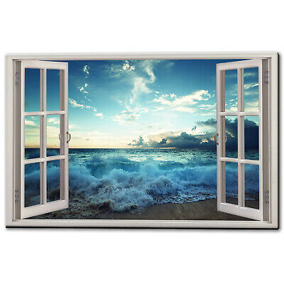 Blue Sky Sea Sunset Beach Canvas Picture Print Wall Art Free Fast Delivery