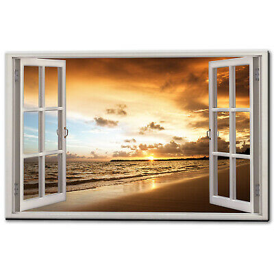 Tropical Sea Sunset Beach Canvas Picture Print Wall Art Free Fast Delivery