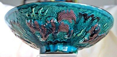 "Vintage Chinese Temple Lion Foo Dog Teal Green Drip Glaze 10 1/2"" Antique Bowl"