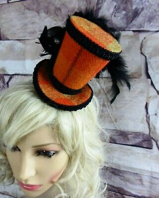 Genuine HARRIS TWEED Mini Top Hat Fascinator Orange Tartan Black Races (HT5)c