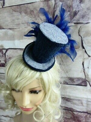 Genuine HARRIS TWEED Mini Top Hat Fascinator Two Tone Blue Herringbone (HT5)e