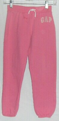 GAP PINK JOGGER SWEAT PANTS L 10 girls STRETCH WAIST JOG GLITTER LOGO LEGGINGS