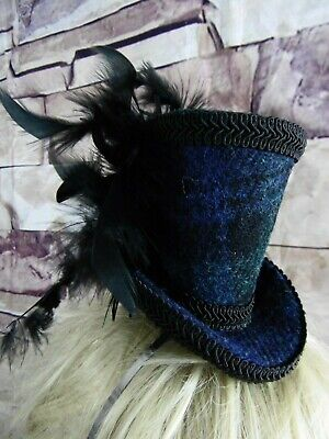 Genuine HARRIS TWEED Mini Top Hat Fascinator Black Watch Black Blue Tartan (HT7)