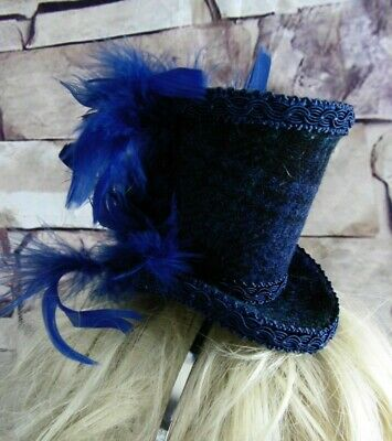 Genuine HARRIS TWEED Mini Top Hat Fascinator Black Watch Black Blue Tartan (HT7b