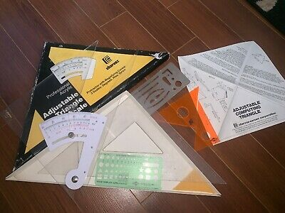 Lot 8 PICES - COMPUTING TRIG-SCALE ADJUSTABLE TRIANGLE Japan CHARVOS Estate Sale