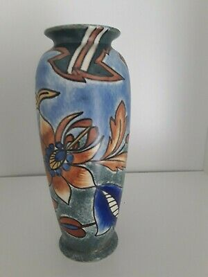 Clews Chameleon vintage Art Deco antique blue geometric  vase ref 2