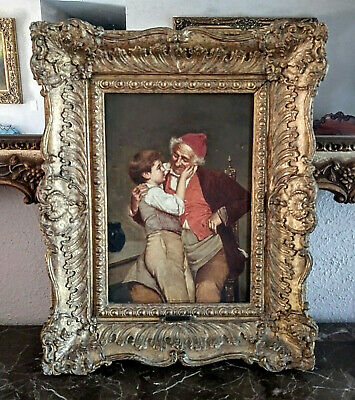 Antique 19th C. Oil Painting Portrait Grandfather & Boy Signed O/C European Art