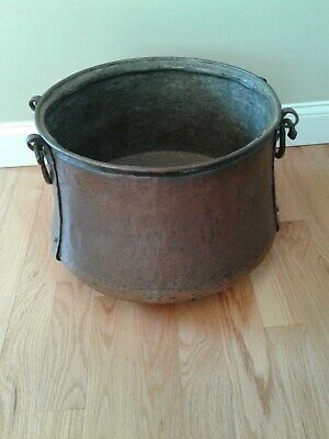 VTG Big COPPER  Cauldron Pot Kettle Handmade Large Primitive Antique