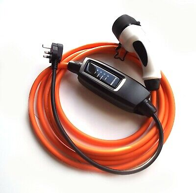 VW e-Up Electric Charger Type2 /Mode 2 - UK Plug 5 Metre Cable + Storage Case.